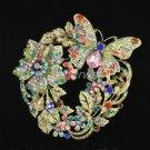 Popular Flower Butterfly Brooch Broach Pin Multicolor Swarovski Crystals