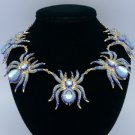Blue 5 Tarantula Spider Necklace Pendant W/ Swarovski Crystals Halloween