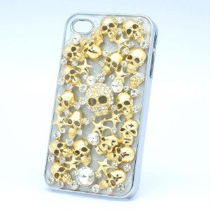 Clear Crystals Hard Gold Starfish Skeleton Skull Cover Case Shell Iphone 4/4S
