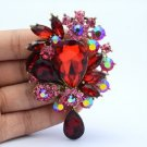 """Chic Beauty Red Flower Pendant Brooch Pin W/ 3.1"""" Rhinestone Crystals"""