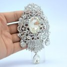 "Vintage Gorgeous Bridal Drop Flower Brooch Pin 4.2"" Clear Rhinestone Crystals"