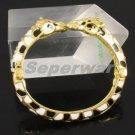 Gold Tone Black Enamel 2 Giraffe Bracelet Bangle Cuff W/ Rhinestone Crystals