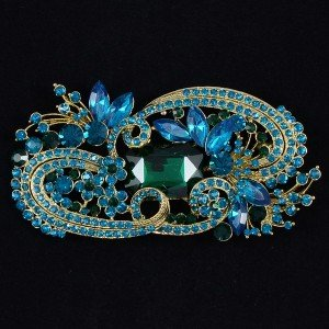 "Vintage Fashion Green Flower Brooch Broach Pin 4.1"" Rhinestone Crystals"
