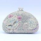 Deluxe Clear Cat Clutch Evening Purse Bag Handbag High Quality Swarovski Crystal