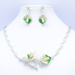 High Quality Green Calla Flower Necklace Earring Set Swarovski Crystals Enameled