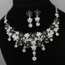 Swarovski Crystals Black Enamel Flower Necklace Earring Set