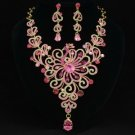 Gorgeous Pink Swarovski Crystals Peafowl Peacock Necklace Earring Set