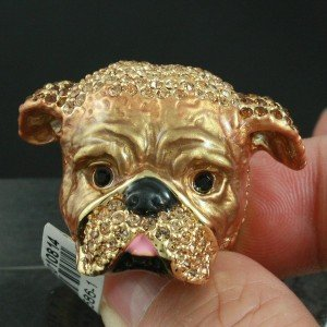 High-Quality Brown Boxer Dog Ring 8# W/ Swarovski Crystals