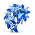 "Vintage Style Flower Pendant Brooch Broach Pin 2.7"" W/ Blue Swarovski Crystals"