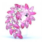 "Vintage Style Flower Pendant Brooch Broach Pin 2.7"" W/ Pink Swarovski Crystals"