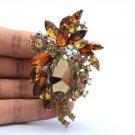 "Retro Cute Flower Pendant Brooch Pin 2.9"" W/ Brown Rhinestone Crystals"