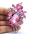"Retro Cute Flower Pendant Brooch Pin 2.9"" W/ Pink Rhinestone Crystals"