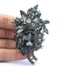 "Retro Cute Flower Pendant Brooch Pin 2.9"" W/ Gray Rhinestone Crystals"