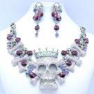 High Quality Crown Bone Skull Necklace Earring Sets W/ Purple Swarovski Crystals