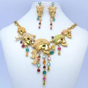 Vintage Hat Skull Skeleton Necklace Earring Set W/ Swarovski Crystals Halloween