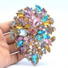 "Beautiful Drop Capri Multicolor Flower Brooch Broach Pin 3.9"" Rhinestone Crystal"