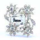 """Bridal Clear 4 Flower Brooch Broach Pin 2.3"""" W/ Rhinestone Crystals Wedding"""