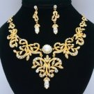Vogue High Quality Flower Necklace Earring Sets Clear Swarovski Crystals