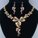 Vogue High Quality Butterfly Necklace Earring Sets Swarovski Crystals Purple