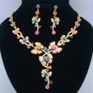 High Quality Multi-Colored Butterfly Necklace Earring Sets Swarovski Crystals