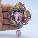 "3.5"" Flower Brooch Broach Pin Pendant W/ Multicolor Rhinestone Crystal"