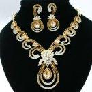 Charm Pretty Flower Necklace Earring Set w/ Brown Swarovski Crystals Zircon