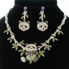 Swarovski Crystals Silver Tone Gorgeous Bamboo Animal Panda Necklace Earring Set
