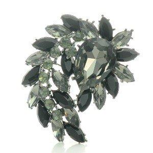 "Swarovski Crystals Pretty Drop Black Flower Pendant Brooch Broach Pin 2.7"""