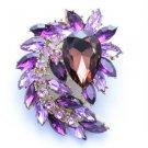 "Vintage Style Flower Pendant Brooch Broach Pin 2.7"" W/ Purple Swarovski Crystals"