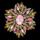 """Vintage Vogue Pendant Multicolor Flower Brooch Pin 4.0"""" Swarovski Crystals"""