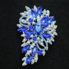 "New Brilliant Blue Flower Brooch Broach Pin 3.3"" W/ Rhinestone Crystals Jewelry"