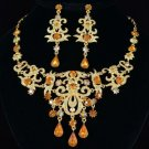 New High Quality Drop Brown Flower Necklace Earring Set W/ Swarovski Crystals