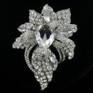 "Rhinestone Crystals Hot New Clear Flower Brooch Pin 3.9"" For Wedding"