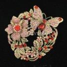 Pretty Swarovski Crystals Red Flower Butterfly Brooch Pin