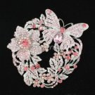Charming Pink Flower Butterfly Brooch Broach Pin Swarovski Crystals