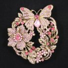Vintage Style Pink Flower Butterfly Brooch Broach Pin w/ Swarovski Crystals