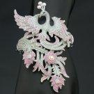 H-Quality Elegant Enamel Peacock Bracelet Bangle Cuff w/ Pink Swarovski Crystal