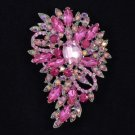 "Rose Rhinestone Crystals New Trendy Pretty Flower Brooch Pin 3.3"" Jewelry"
