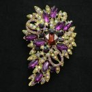 "New Brilliant Purple Flower Brooch Pin 3.3"" W/ Rhinestone Crystals Jewelry"
