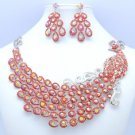Swarovski Crystals Big Animal Red Peafowl Peacock Necklace Earring Set