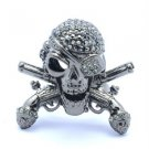 Vintage Style Pistol Skeleton Skull Ring Sz Adjustable Purple Swarovski Crystals
