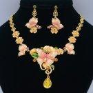 Enamel Pink Flower Butterfly Necklace Earring Sets w Topaz Swarovski Crystals