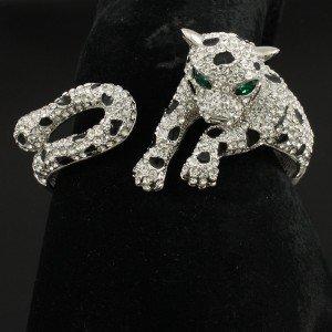 High Quality Panther Leopard Bracelet Bangle Cuff Clear Swarovski Crystals