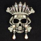 Fashion Vintage Style Swarovski Crystals Clear Skull Brooch Pin