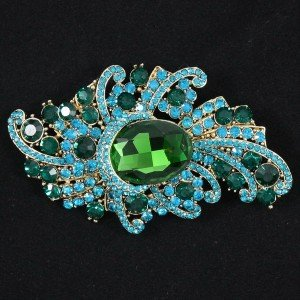 Swarovski Crystals Vogue Green Flower Brooch Pin 3.7""