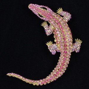 "New Fashion Animal Crocodile Brooch Pin 4.0"" W/ Pink Swarovski Crystals"