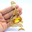 "Trendy Mermaid Skeleton Skull Brooch Broach Pin 4.0"" w Topaz Swarovski Crystals"