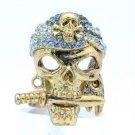 Fearsome Blue Falchion Skeleton Skull Ring Size Adjustable W/ Swarovski Crystals
