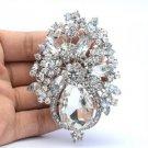 "Chic Clear Swaroski Crystal Flower Brooch Broach Pin Bride 3.1"""