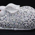 Gorgeous Swarovski Crystal Clear Bunny Rabbit Clutch Evening Purse Bag Handbag